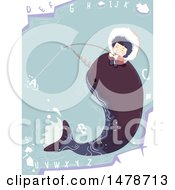 Clipart Of A Girl Eskimo Fishing And Riding A Narwhal Royalty Free Vector Illustration by BNP Design Studio