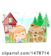 Clipart Of A Girl And Bear Talking In A Yard Royalty Free Vector Illustration