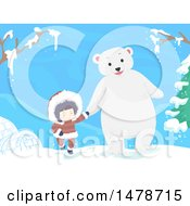 Clipart Of A Girl Eskimo Holding Hands And Walking With A Polar Bear Royalty Free Vector Illustration by BNP Design Studio