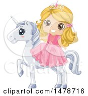 Girl Princess Riding A White Unicorn