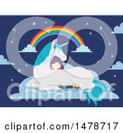 Clipart Of A Girl Sleeping On A Unicorn Royalty Free Vector Illustration by BNP Design Studio