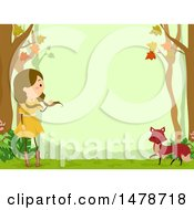 Clipart Of A Border Of A Girl And Fox In The Woods Royalty Free Vector Illustration by BNP Design Studio