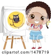 Clipart Of A School Girl Telling A Story About Owls Royalty Free Vector Illustration