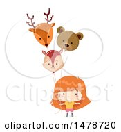 Clipart Of A Girl With Animal Balloons Royalty Free Vector Illustration by BNP Design Studio