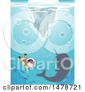 Clipart Of A Girl Diving With A Narwhal Royalty Free Vector Illustration by BNP Design Studio
