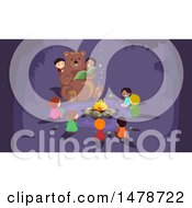 Clipart Of A Bear Reading A Story To Children Around A Campfire Royalty Free Vector Illustration