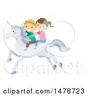 Clipart Of A Boy And Girl Riding A White Unicorn Royalty Free Vector Illustration by BNP Design Studio