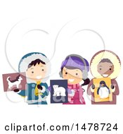 Clipart Of A Group Of Arctic Kids Holding Animal Flash Cards Royalty Free Vector Illustration by BNP Design Studio