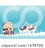 Clipart Of A Group Of Arctic Kids Dog Sledding Royalty Free Vector Illustration
