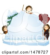 Clipart Of A Group Of Ice Age Kids With A Woolly Mammoth Around An Ice Board Royalty Free Vector Illustration by BNP Design Studio