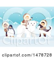 Clipart Of A Group Of Arctic Kids With A Penguin Polar Bear And Husky Dog Royalty Free Vector Illustration by BNP Design Studio