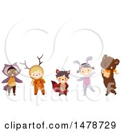 Clipart Of A Group Of Kids In Forest Animal Costumes Royalty Free Vector Illustration by BNP Design Studio