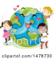 Clipart Of A Group Of Children Hugging A Happy Planet Earth Royalty Free Vector Illustration by BNP Design Studio