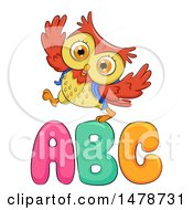 Clipart Of A Cute Owl Walking Over ABC Letters Royalty Free Vector Illustration by BNP Design Studio