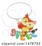 Clipart Of A Cute Owl Talking Over Spell Text On A Branch Royalty Free Vector Illustration