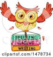 Clipart Of A Cute Owl Flying With School Books Royalty Free Vector Illustration by BNP Design Studio