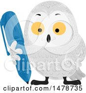 Clipart Of A Snow Owl Holding A Pen Royalty Free Vector Illustration by BNP Design Studio