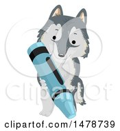 Clipart Of A Cute Arctic Wolf Dog Holding A Crayon Royalty Free Vector Illustration
