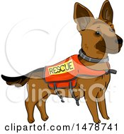 Clipart Of A German Shepherd Dog Wearing A Rescue Vest Royalty Free Vector Illustration
