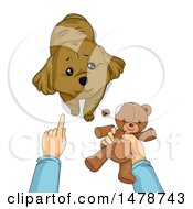 Clipart Of A Dog Being Reprimanded By His Owner After Tearing Up A Teddy Bear Royalty Free Vector Illustration by BNP Design Studio