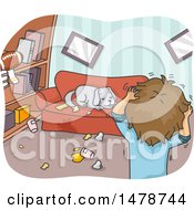Clipart Of A Man Discovering His Dog Tearing Apart His Apartment Royalty Free Vector Illustration