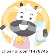 Clipart Of A Cute Dairy Cow Holding A Glass Of Milk Royalty Free Vector Illustration