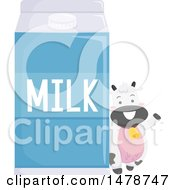 Clipart Of A Cute Dairy Cow By A Giant Carton Of Milk Royalty Free Vector Illustration