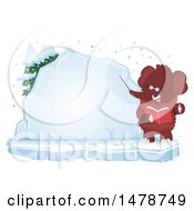 Clipart Of A Woolly Mammoth Teacher By An Ice Board Royalty Free Vector Illustration by BNP Design Studio