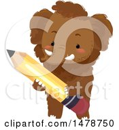 Clipart Of A Cute Woolly Mammoth Holding A Pencil Royalty Free Vector Illustration by BNP Design Studio