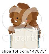 Clipart Of A Cute Woolly Mammoth Over An Open Book Royalty Free Vector Illustration