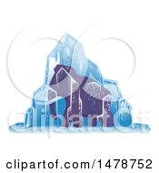Clipart Of A Woolly Mammoth Frozen In Ice Royalty Free Vector Illustration