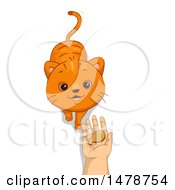 Clipart Of A Cat Looking Up To A Hand Holding A Treat Royalty Free Vector Illustration