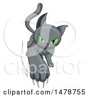 Clipart Of A Green Eyed Black Cat Slashing Out Royalty Free Vector Illustration