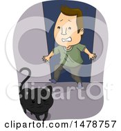 Clipart Of A Superstitious Man With A Black Cat Crossing His Path Royalty Free Vector Illustration