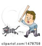 Cruel Man Chasing A Cat With A Bat