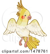 Clipart Of A Flying Yellow Cockatiel Royalty Free Vector Illustration by BNP Design Studio