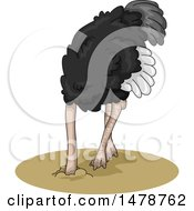 Clipart Of An Ostrich With His Head In The Ground Royalty Free Vector Illustration
