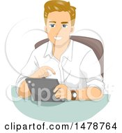 Clipart Of A Happy Man Using A Tablet Computer Royalty Free Vector Illustration