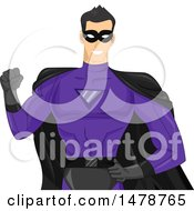 Clipart Of A Male Super Hero In A Black And Purple Costume Royalty Free Vector Illustration