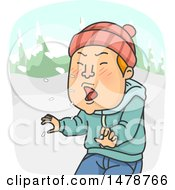 Cartoon Man Sneezing In The Winter