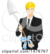 Clipart Of A Business Man Holding A Shovel For A Ground Breaking Event Royalty Free Vector Illustration by BNP Design Studio