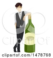 Clipart Of A Male Bartender Leaning On A Giant Wine Bottle Royalty Free Vector Illustration