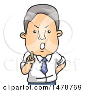 Clipart Of A Strict Business Man Giving A Lecture Royalty Free Vector Illustration