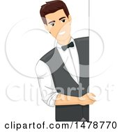 Clipart Of A Happy Male Bartender Looking Around A Board Royalty Free Vector Illustration
