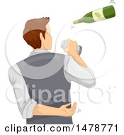 Clipart Of A Bartender Flipping A Bottle Royalty Free Vector Illustration