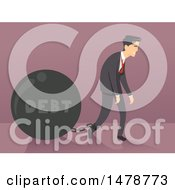 Clipart Of A Business Man Dragging A Debt Ball Royalty Free Vector Illustration