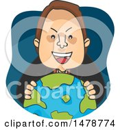 Clipart Of A Man Grinning Over A Globe Royalty Free Vector Illustration by BNP Design Studio