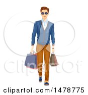 Clipart Of A Stylish Man In Preppy Clothing Carrying Shopping Bags Royalty Free Vector Illustration