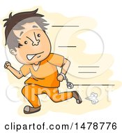 Clipart Of A Male Prisoner Escaping And Running Royalty Free Vector Illustration