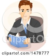 Clipart Of A Young Business Man Reading At A Desk Royalty Free Vector Illustration